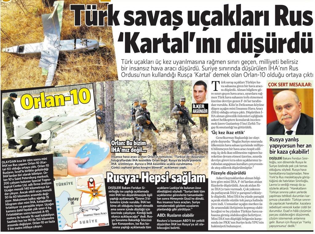 17 Ekim 2015 Vatan Gazetesi 12. sayfa