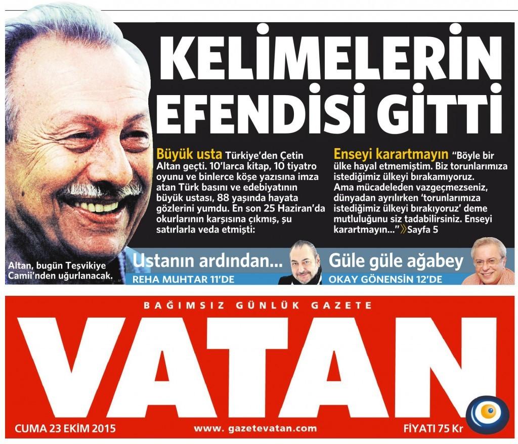 23 Ekim 2015 Vatan Gazetesi 1. sayfa