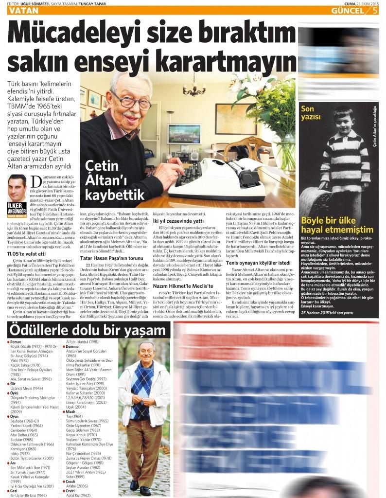 23 Ekim 2015 Vatan Gazetesi 5. sayfa
