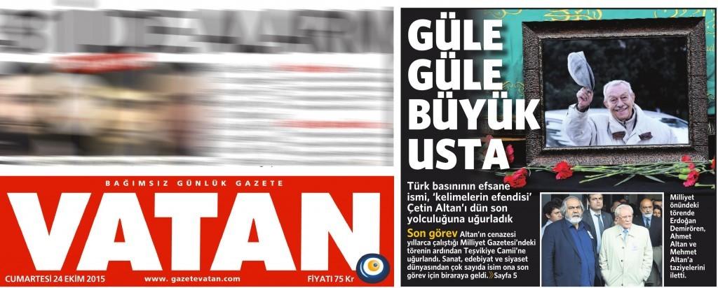 24 Ekim 2015 Vatan Gazetesi 1. sayfa