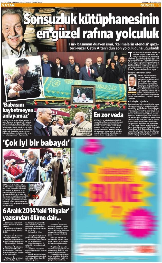 24 Ekim 2015 Vatan Gazetesi 5. sayfa