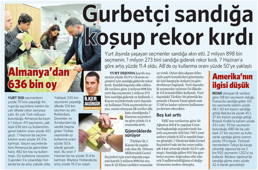 27 Ekim 2015 Vatan Gazetesi 15. sayfa