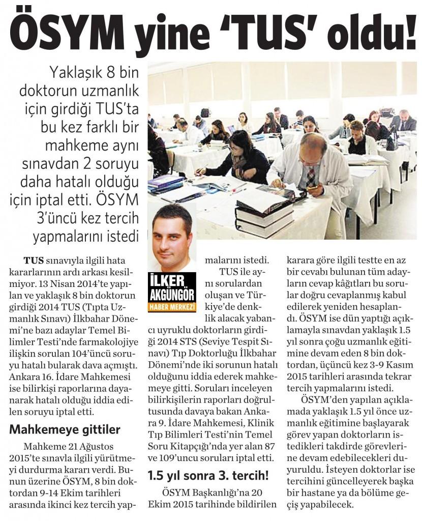 30 Ekim 2015 Vatan Gazetesi 7. sayfa