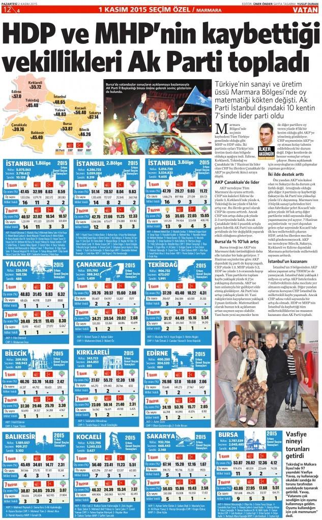 2 Kasım 2015 Vatan Gazetesi 12. sayfa