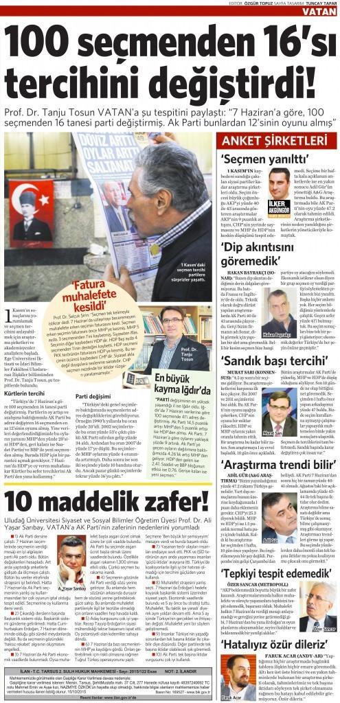 3 Kasım 2015 Vatan Gazetesi 16. sayfa