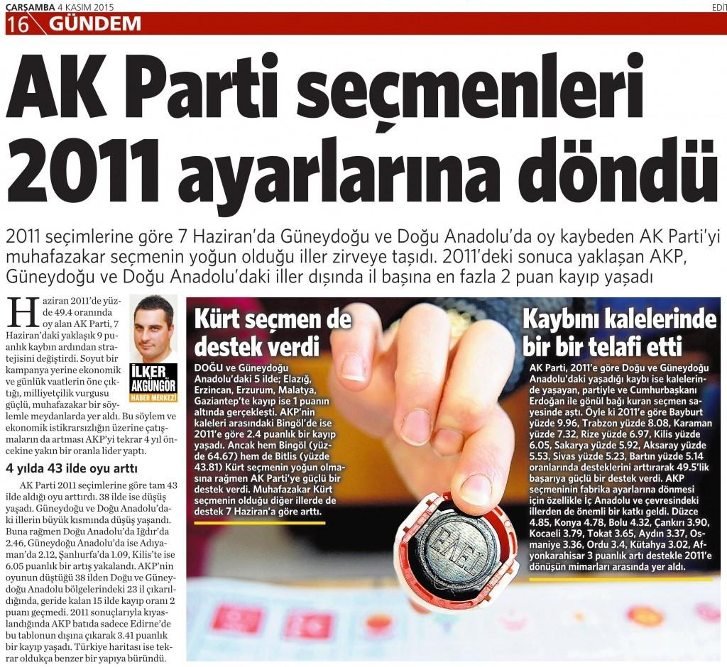4 Kasım 2015 Vatan Gazetesi 16. sayfa