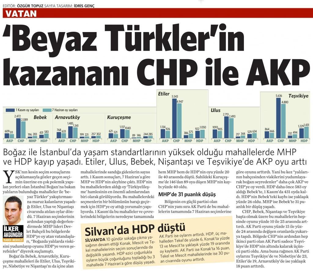 13 Kasım 2015 Vatan Gazetesi 15. sayfa