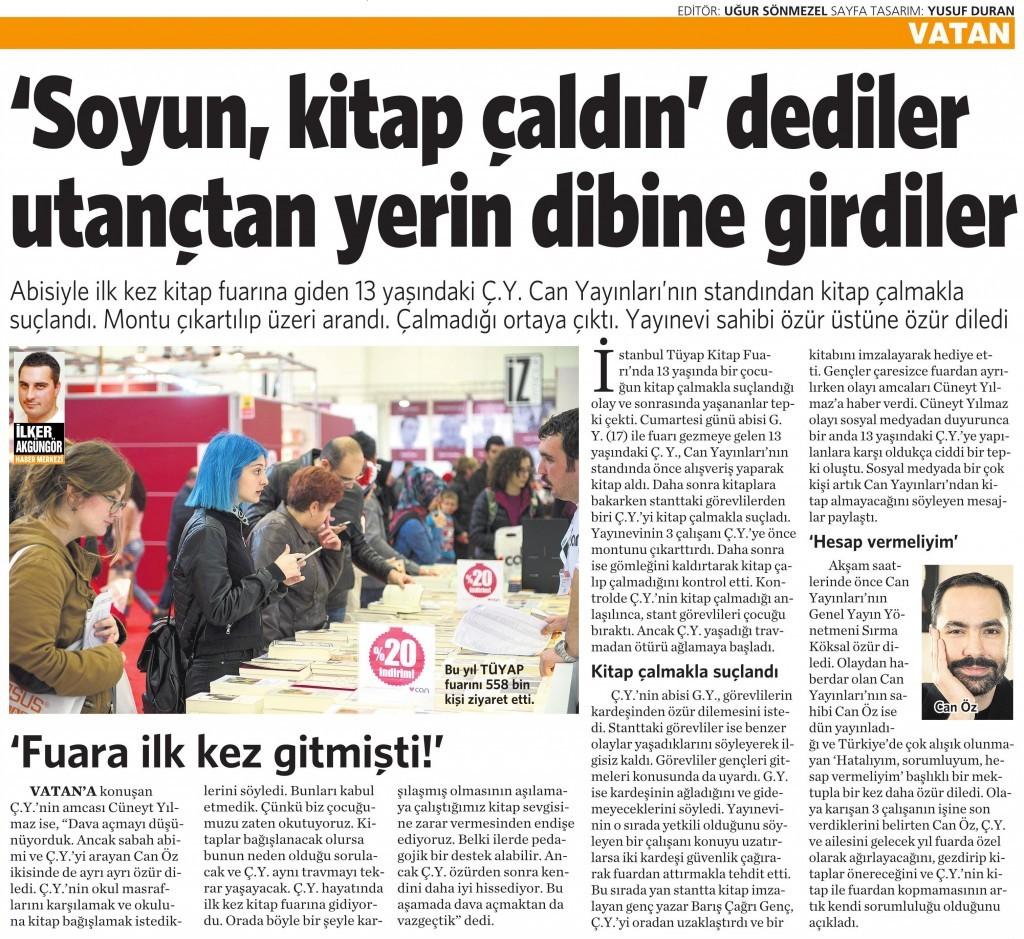 16 Kasım 2015 Vatan Gazetesi 4. sayfa