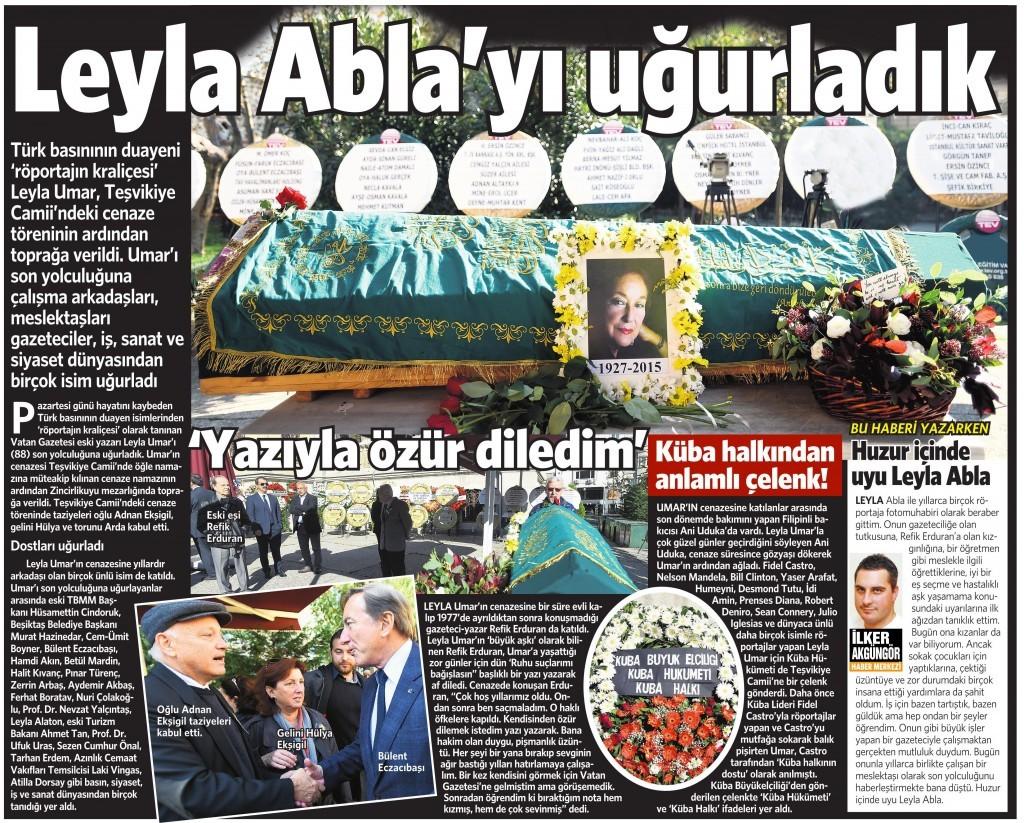 19 Kasım 2015 Vatan Gazetesi 11. sayfa