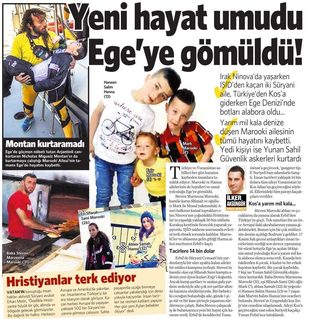 23 Kasım 2015 Vatan Gazetesi 12. sayfa