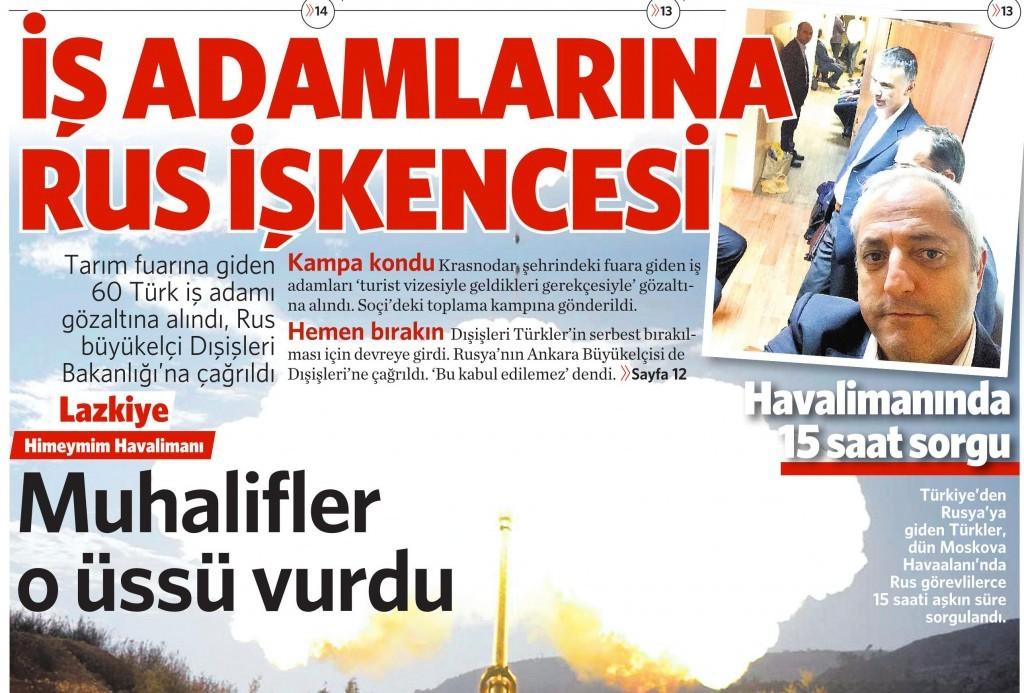 27 Kasım 2015 Vatan Gazetesi 1. sayfa