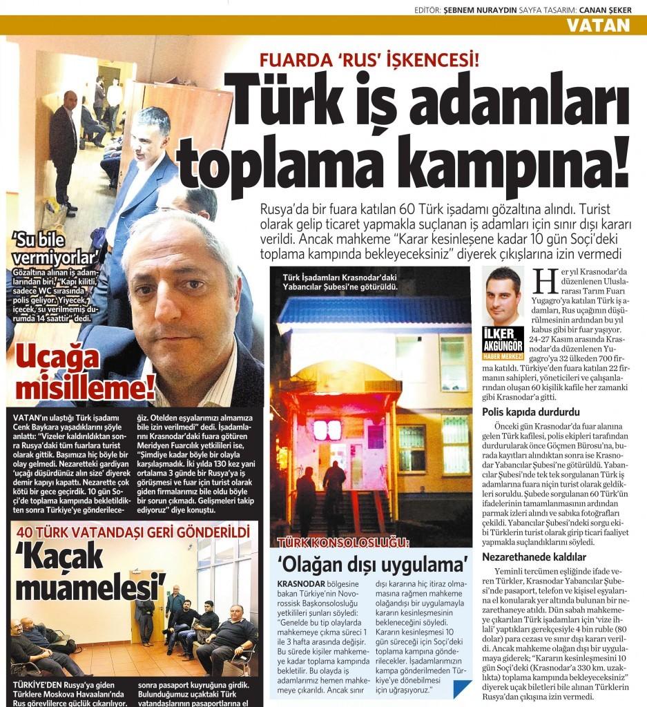 27 Kasım 2015 Vatan Gazetesi 12. sayfa
