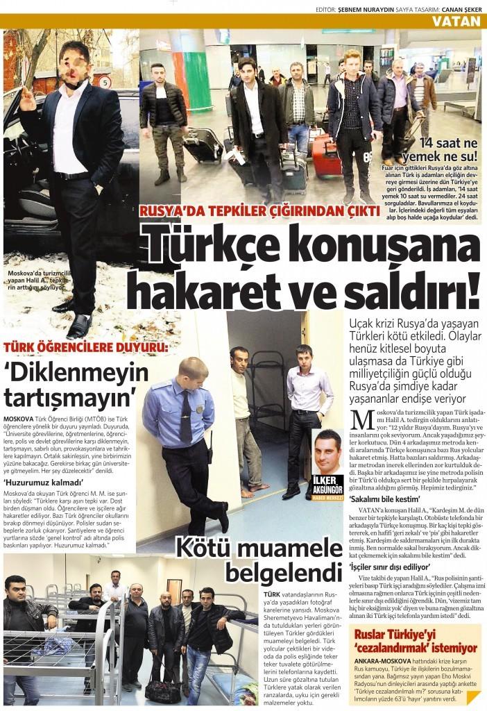 28 Kasım 2015 Vatan Gazetesi 12. sayfa