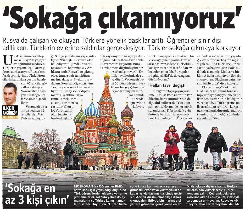 30 Kasım 2015 Vatan Gazetesi 12. sayfa