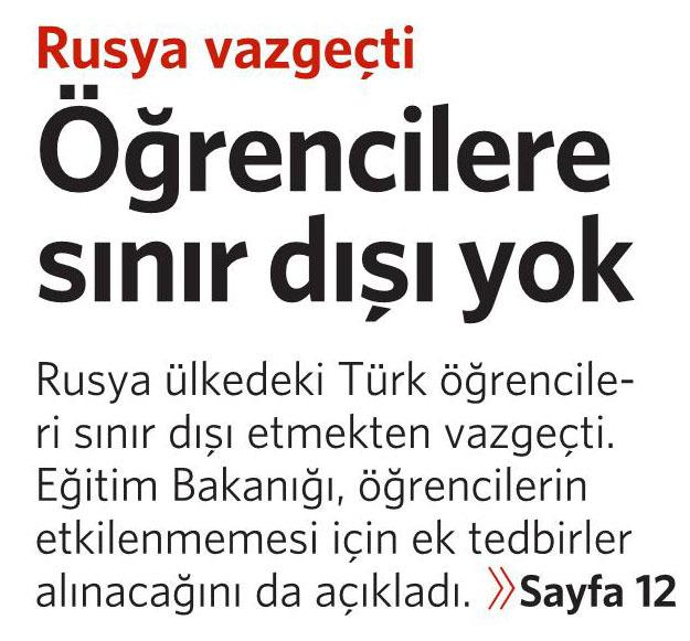 1 Aralık 2015 Vatan Gazetesi 1. sayfa