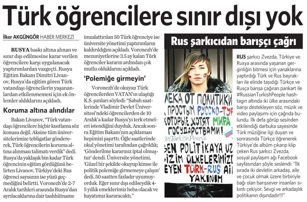 1 Aralık 2015 Vatan Gazetesi 12. sayfa