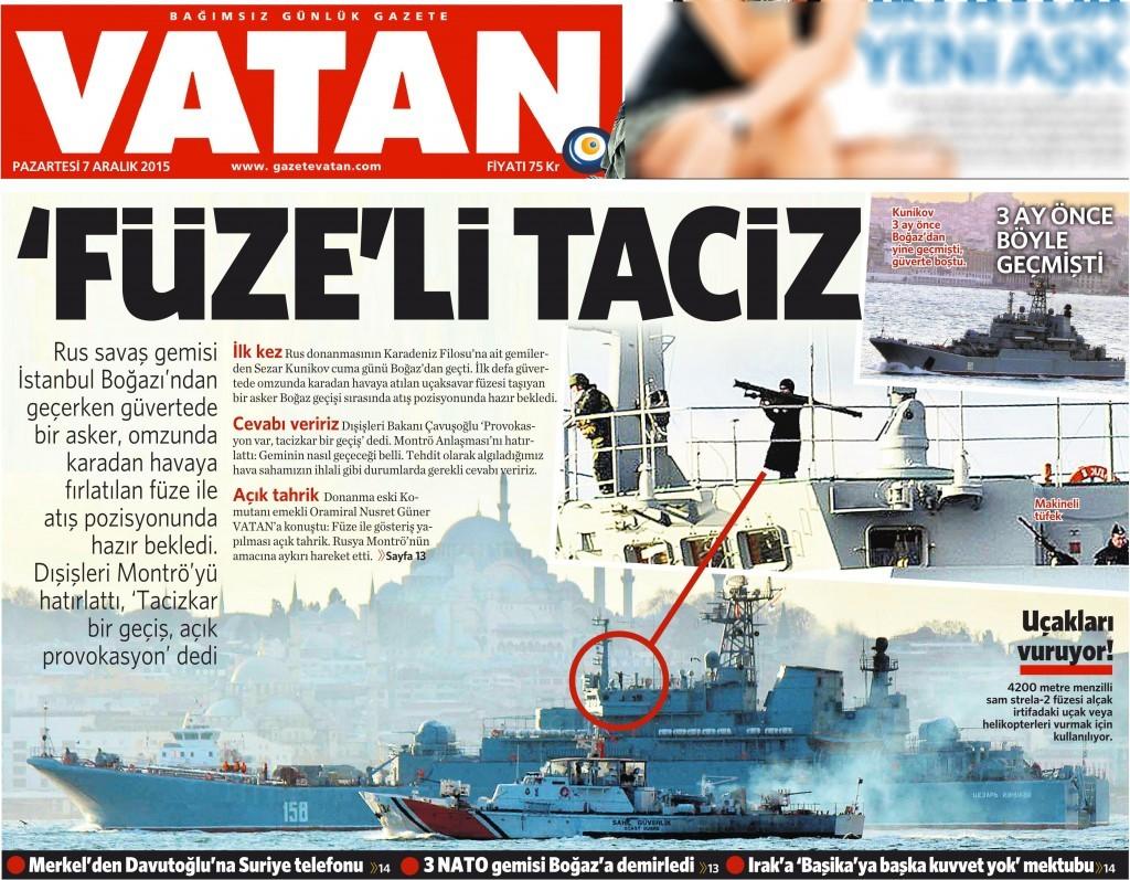 7 Aralık 2015 Vatan Gazetesi 1. sayfa