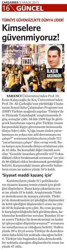 9 Aralık 2015 Vatan Gazetesi 16. sayfa