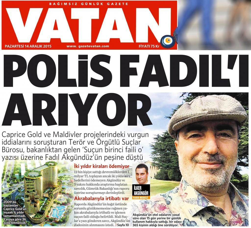 14 Aralık 2015 Vatan Gazetesi 1. sayfa