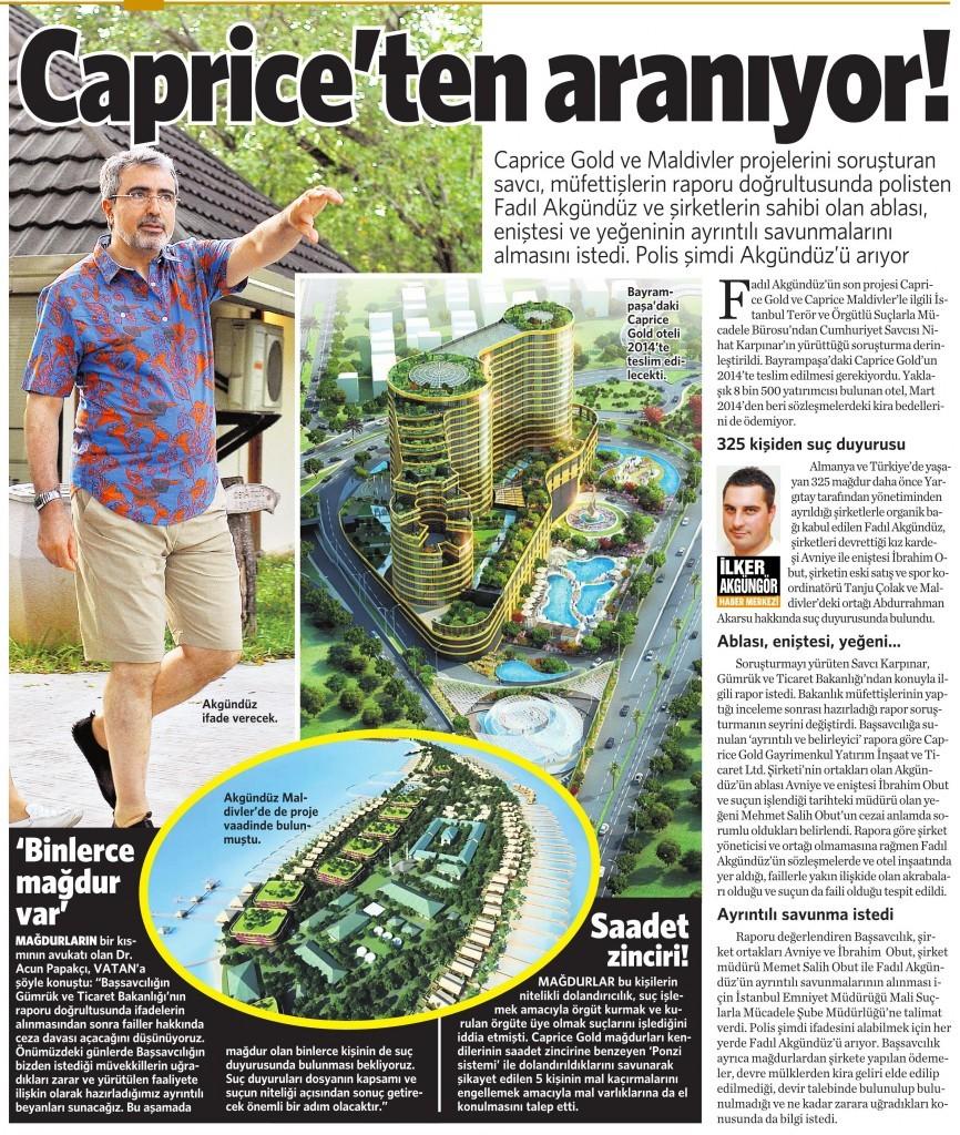 14 Aralık 2015 Vatan Gazetesi 10. sayfa