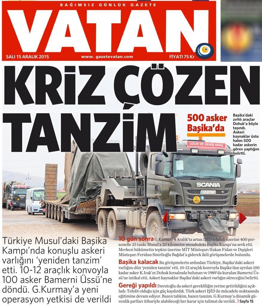 15 Aralık 2015 Vatan Gazetesi 1. sayfa