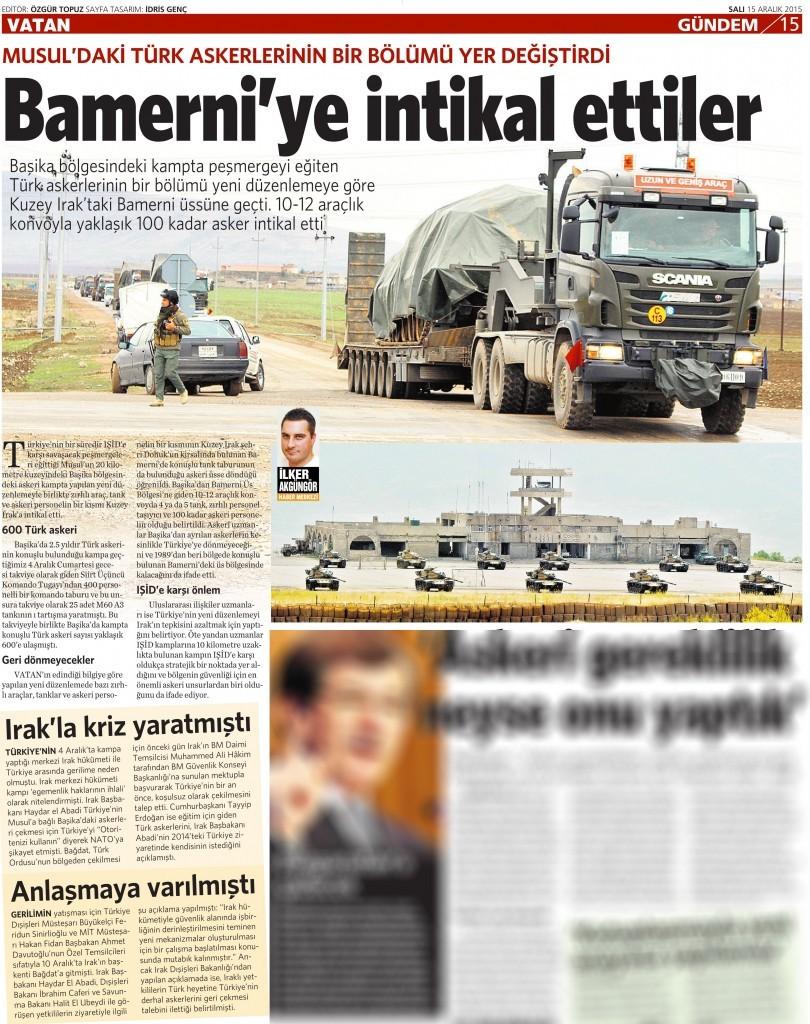 15 Aralık 2015 Vatan Gazetesi 15. sayfa