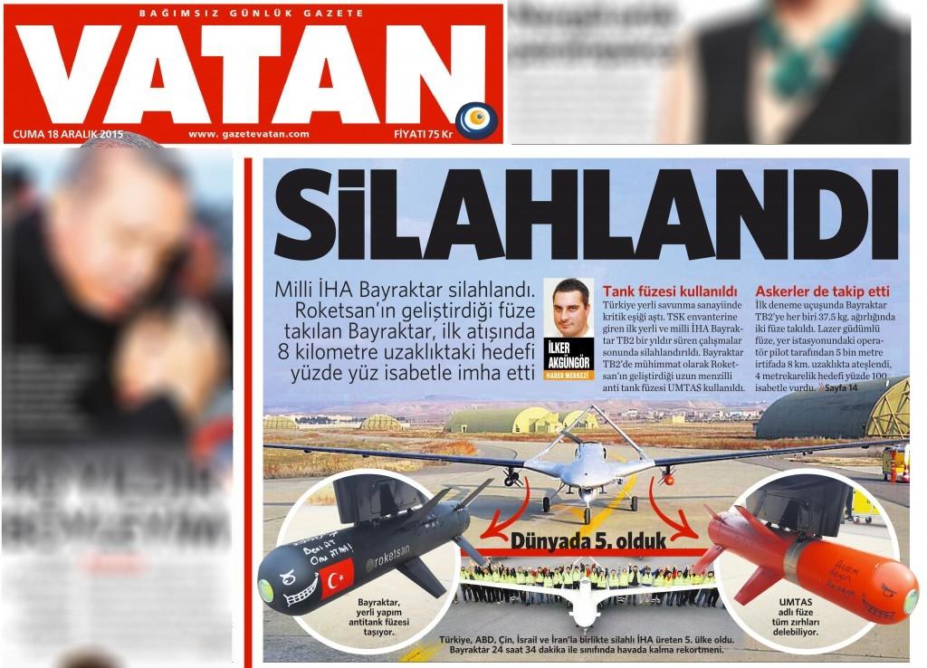 18 Aralık 2015 Vatan Gazetesi 1. sayfa