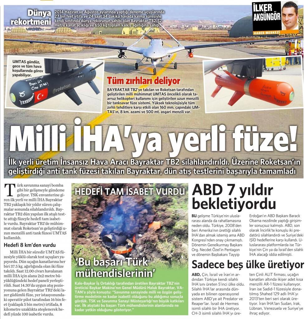 18 Aralık 2015 Vatan Gazetesi 14. sayfa