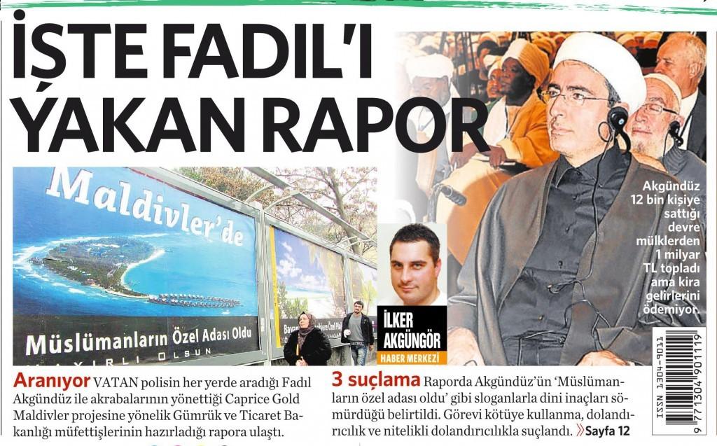 21 Aralık 2015 Vatan Gazetesi 1. sayfa