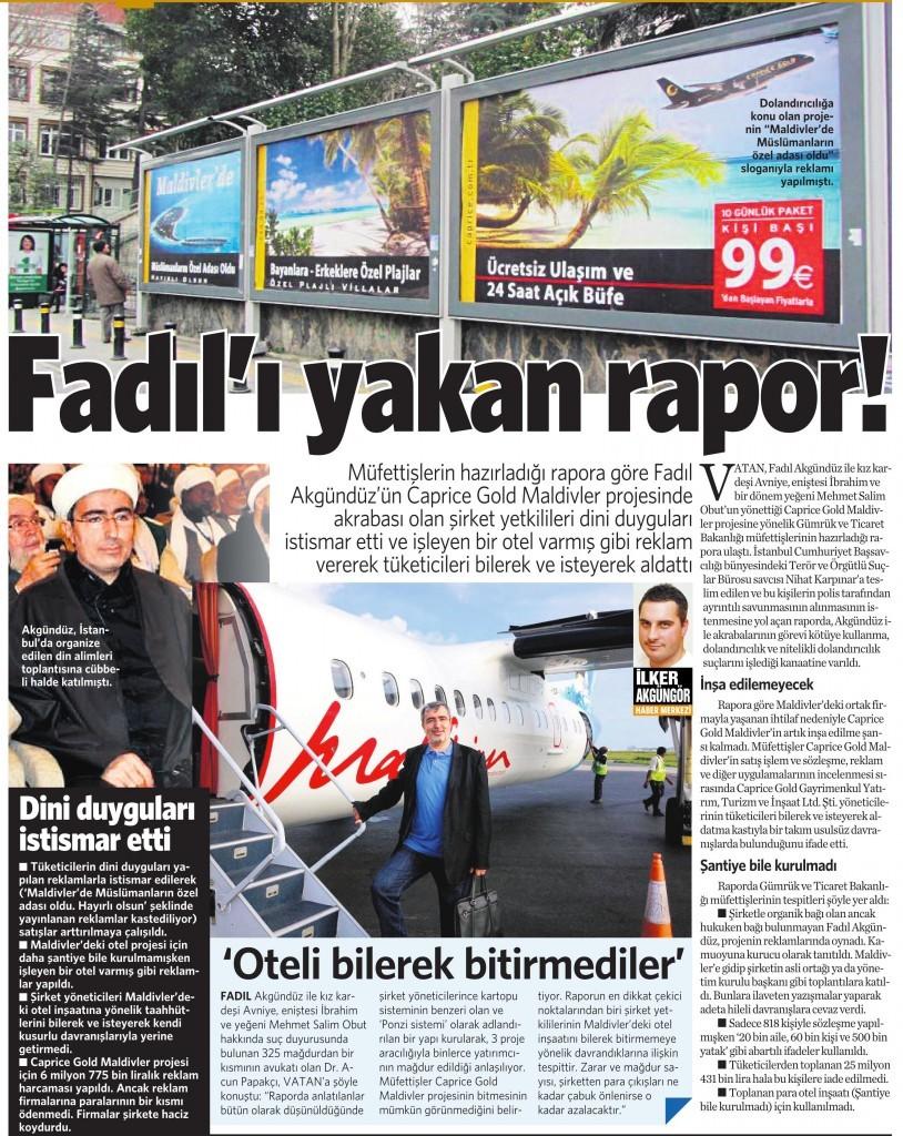 21 Aralık 2015 Vatan Gazetesi 12. sayfa