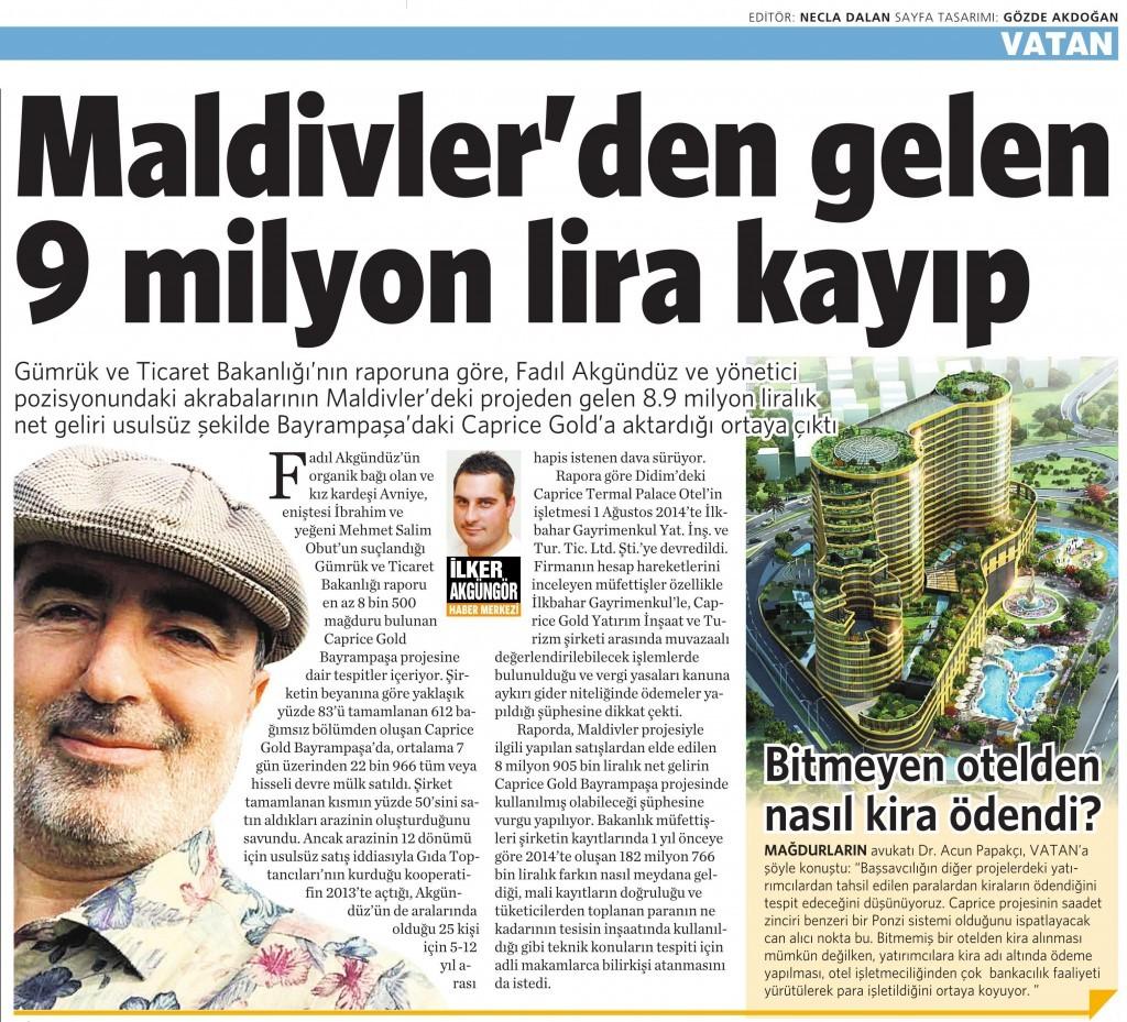 22 Aralık 2015 Vatan Gazetesi 8. sayfa