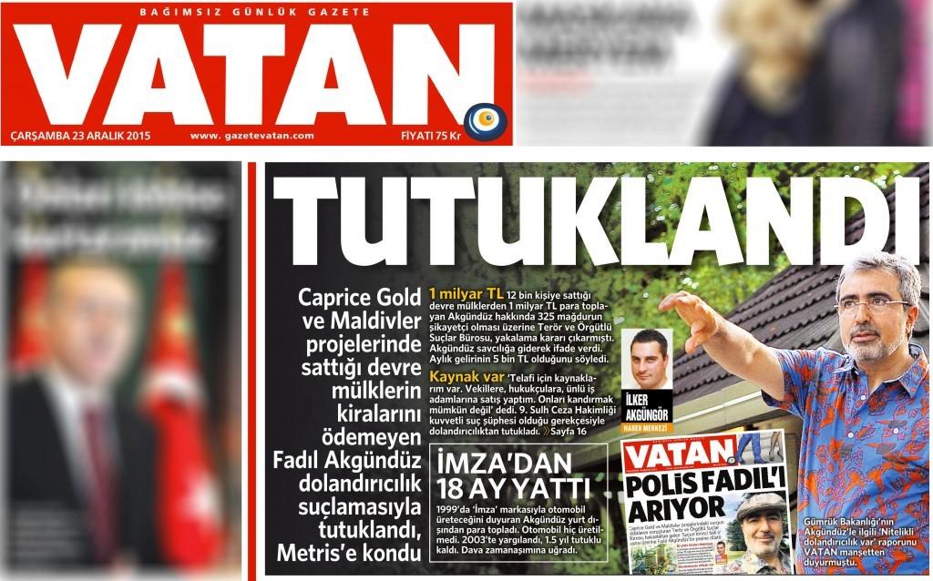 23 Aralık 2015 Vatan Gazetesi 1. sayfa