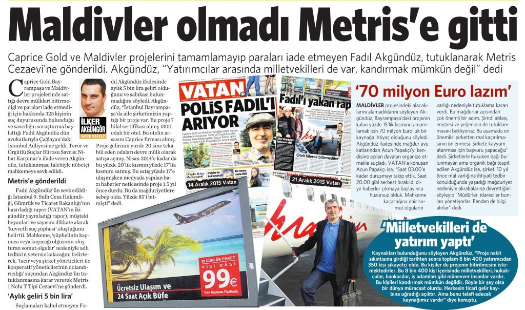 23 Aralık 2015 Vatan Gazetesi 16. sayfa