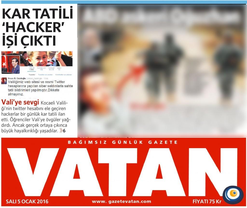 5 Ocak 2016 Vatan Gazetesi 1. sayfa