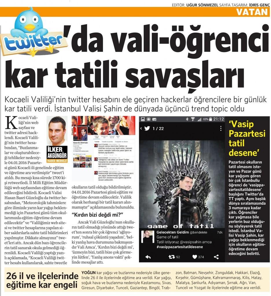 5 Ocak 2016 Vatan Gazetesi 6. sayfa