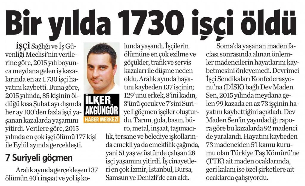 6 Ocak 2016 Vatan Gazetesi 11. sayfa