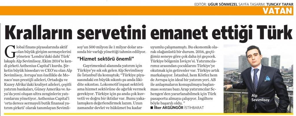 8 Ocak 2016 Vatan Gazetesi 4. sayfa