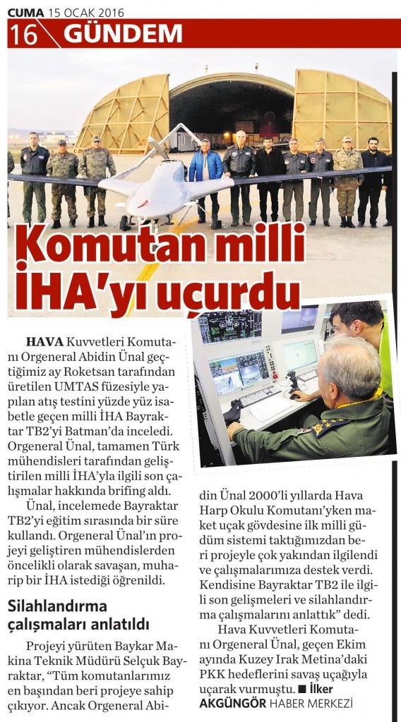 15 Ocak 2016 Vatan Gazetesi 16. sayfa