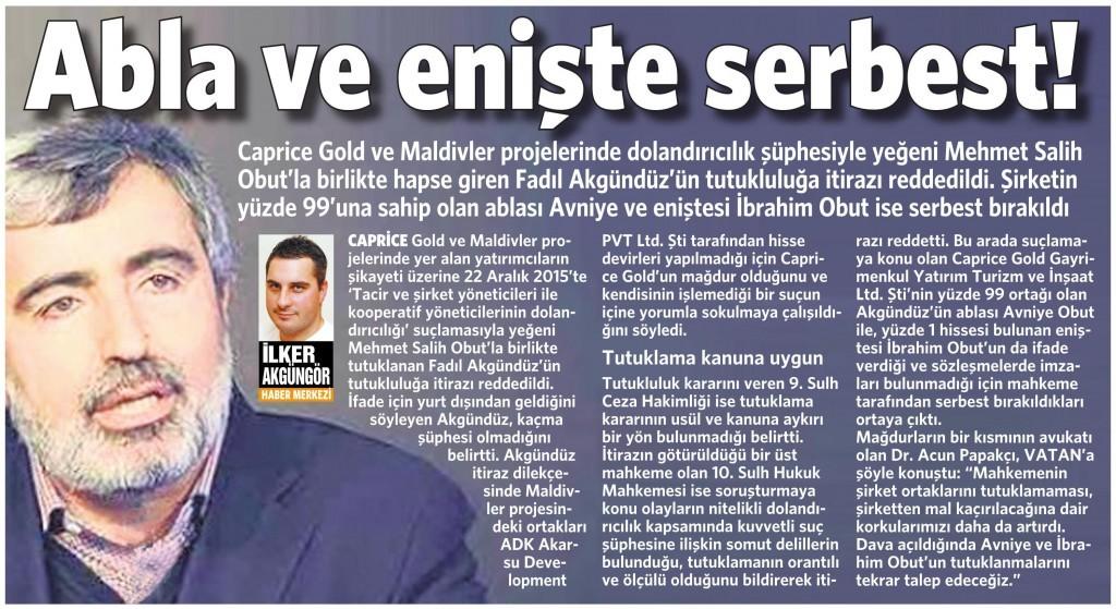 18 Ocak 2016 Vatan Gazetesi 9. sayfa