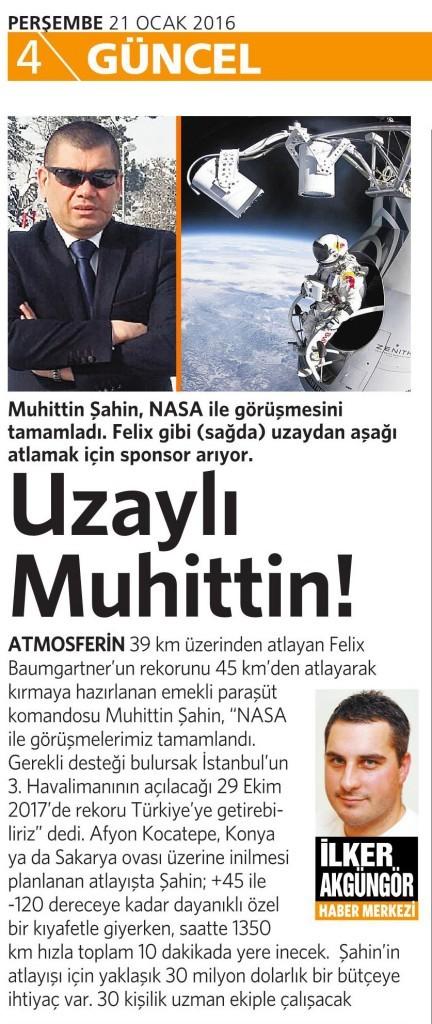 21 Ocak 2016 Vatan Gazetesi 4. sayfa