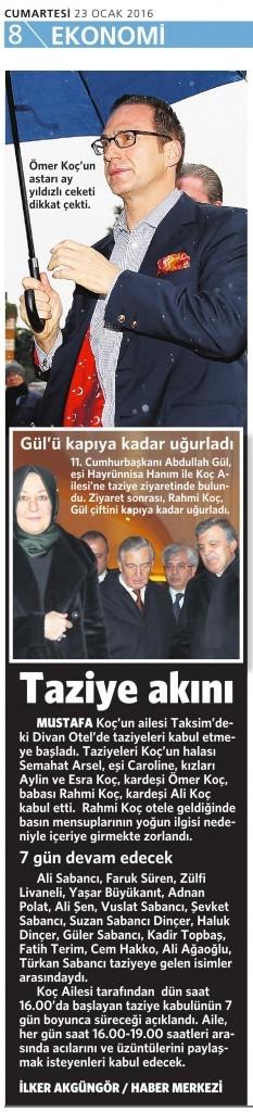 23 Ocak 2016 Vatan Gazetesi 8. sayfa