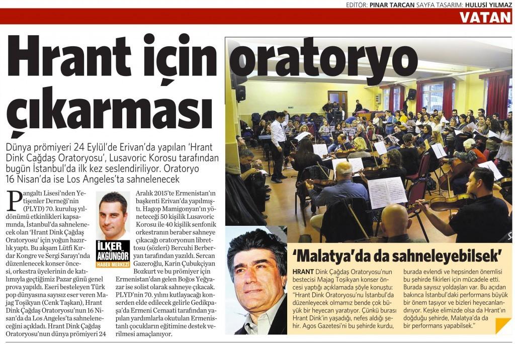 24 Ocak 2016 Vatan Gazetesi 16. sayfa