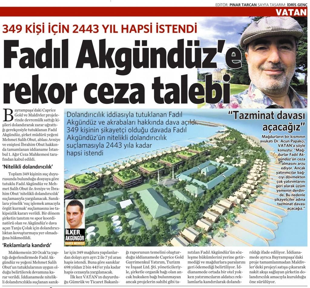 26 Ocak 2016 Vatan Gazetesi 16. sayfa