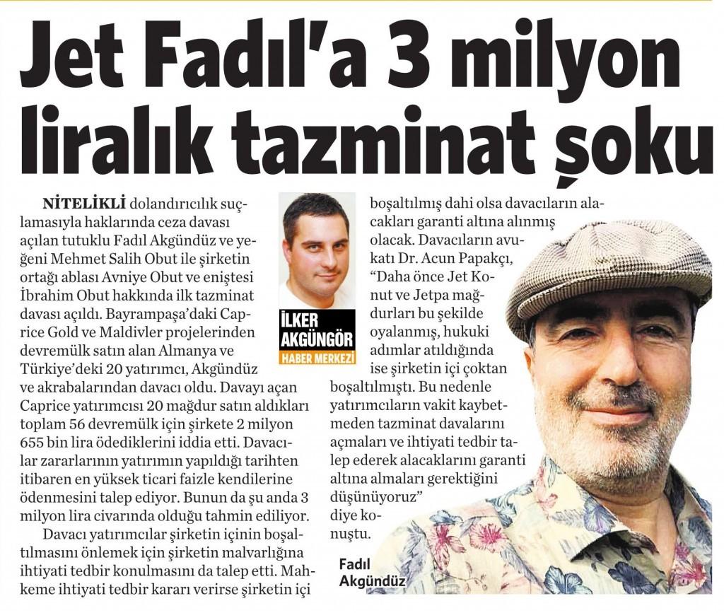 27 Ocak 2016 Vatan Gazetesi 10. sayfa