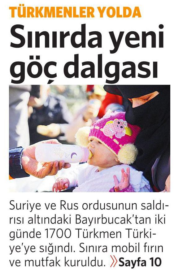 1 Şubat 2016 Vatan Gazetesi 1. sayfa