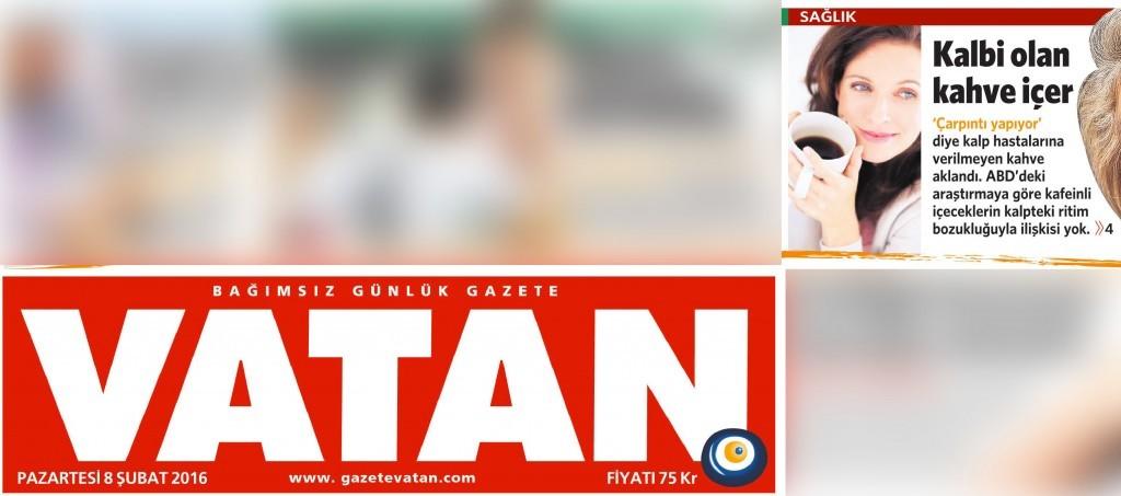 8 Şubat 2016 Vatan Gazetesi 1. sayfa
