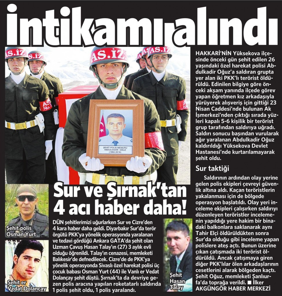 10 Şubat 2016 Vatan Gazetesi 12. sayfa