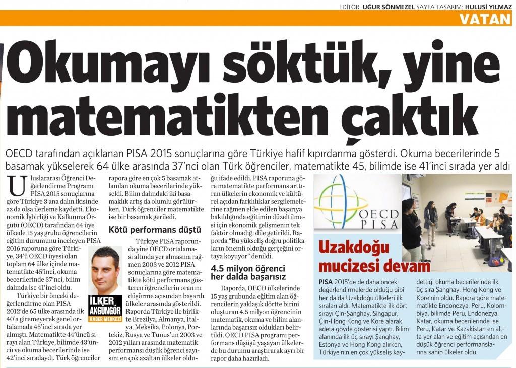 11 Şubat 2016 Vatan Gazetesi 4. sayfa