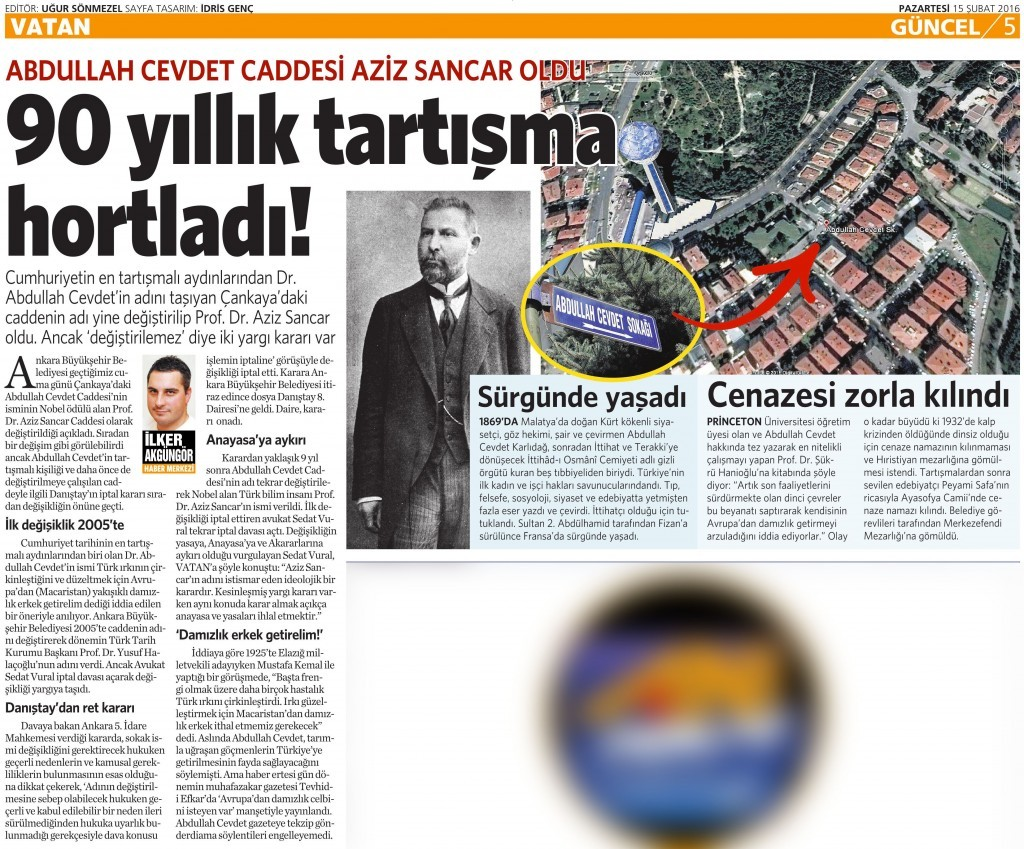 15 Şubat 2016 Vatan Gazetesi 5. sayfa