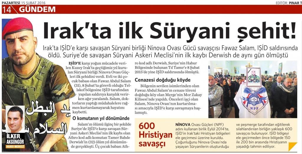 15 Şubat 2016 Vatan Gazetesi 15. sayfa